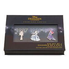 Disney Designer Collection 3 Pin Set Limited Edition Snow White Cinderella Ariel