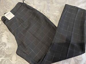 NUTMEG NWT UK 16 tapered black check Elasticated Back/Everyday trousers