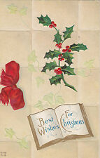 Holly on Tiles 2 CHRISTMAS Best Wishes Embossed Nash C-55 & C-111 Postcards