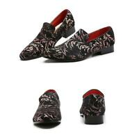 Hot Mens Pointy Toe Floral Slip On Pumps Nightclub Gommino Loafers Leisure Shoes