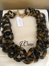 NWT J Crew 100% Authentic Tortoise Link Collar Choker Necklace & Dust Bag