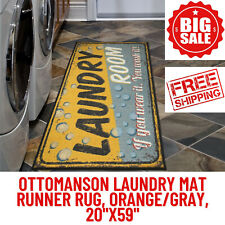 "Ottomanson Laundry Mat Runner Rug, Orange/Gray, 20""X59"", Non-Slip Rubber Backing"