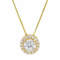 "1.50 ct Round Solitaire Halo Solid 14K Yellow Gold Pendant Necklace +16"" Chain"