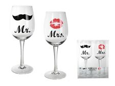 PAIR OF MR AND MRS WINE GLASS GLASSES FOR HIM HER 430ml KISS MOUSTACHE DESIGN 2X