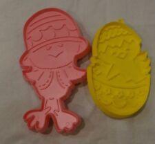 2 SPRING CHICKS Hallmark Cookie Cutters VINTAGE Plastic 1970's YELLOW & PINK