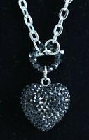 ACCESSORY, Chain with Black Rhinestone Heart Pendant Necklace