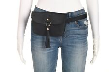 Unbranded Belt Bag Faux Leather Black Gold Fanny Pack Tassel Medium Large