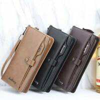 Mens PU Leather Large Capacity Clutch Wallet Fashion Business Zipper Card Wallet
