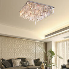 Square Crystal Bead Ceiling Pendant Lamp Lighting Fixture Chandelier Flush Mount
