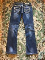 Rock & Roll Cowgirl Jeans 27x34 Blue Low Rise Bling Pockets Dark W/ Med Wash EUC