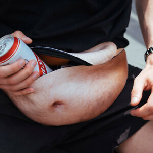 Dad Bod Bags Waist Belt Funny Bum Bags Leather Hairy Beer Fat Belly Pack Pouch