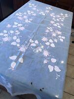 "Vintage Fancy 50's Floral Design On Pink Sheer Tissue Tablecloth 69"" x 86"""