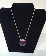 #132 NEW Harley-Davidson necklace, clear/garnet bar and shield, sterling silver