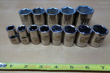 """USA Made CRAFTSMAN 1/2"""" Drive SAE Inch SOCKET SET !   13 pc Easy Read Laser Etch"""