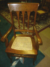 Antique Oak chair arm chair quarter sawn tiger oak hand cane seat refinished
