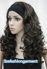 Ladies Long wig Brown Curly women Daily 3/4 half headband COSPLAY wig + Wig cap