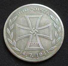 WW2 GERMAN COIN PROPOISZK 1941 PANZER DIVISION SS IRON CROSS 1939 HITLER 50mm