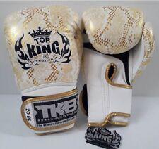 TOP KING BOXING GLOVES 8,10,12,14,16 ozTKBGSS SNAKE SKIN WHITE GOLD SPARRING MMA