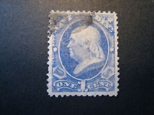 1873 US S# O35, 1c ultra, Navy, hard paper Official Stamp Used