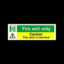 Fire Exit - Door Alarmed - Plastic Sign, Sticker - All Sizes/Materials - (EE25)