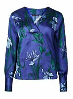 New Ex Marks And Spencer Blue Satin Floral Print V-Neck Long Sleeve Blouse Top