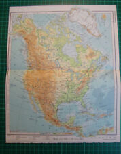 Old map North America Canada Alaska Greenland Mexico 1975
