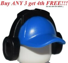 ☀️NEW Lego City Minifig Blue Hat Short Curved Bill w/ Seams w/ Headphones