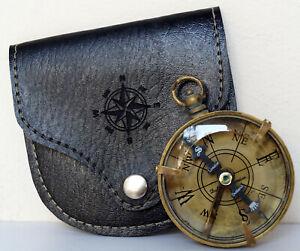 Antique Brass Vintage Dollond London Flat Pocket Compass With Black Leather Case