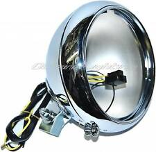 "7"" Motorcycle Headlight Chrome Housing Headlamp Light Bulb Bucket Fits: Harley"