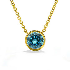 2.00 Carat 14K Yellow Gold Blue Enhanced Diamond Solid Solitaire Chain