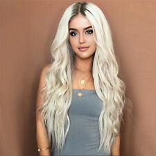 24'' Women's Ombre Cosplay White Blonde Wig Synthetic Hair Wigs Free Shipping