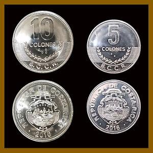 Costa Rica 5 10 Colones (2 Pcs Coin Set), 2015-2016 Mint
