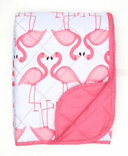 Pink and White Flamingo Quilted Throw Blanket Quilt 50 x 70 inches