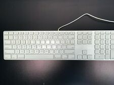 Apple A1243  Wired Keyboard with Number Pad  2  USB Port Silver and White  (C28)