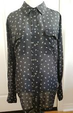 Equipment Femme Silk Blouse Button Up Black Sheer Size L
