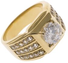 Rock Solid 6 carat cz Mens ring 18k Yellow Gold Overlay size 9 TK1233