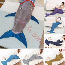 Adult/Kid/Boy Comfy Shark/Fish Scale Mermaid Tail Cotton Blankets Soft Quilt Rug