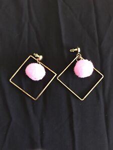 Vintage Style Pink Dangly Pom-Pom Square Hoop Earrings Women's Pom Pom Jewellery