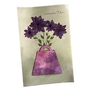 Mother's Day Greeting Card - I Love You, Mom, Mom, with flowers, bag