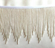 "Bright Shining Silver 4"" beaded fringe, great for any project.  #456"