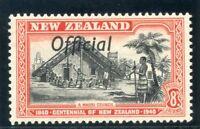 New Zealand 1940 KGVI Official 8d black & red MLH. SG O149. Sc O84.