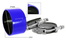 """BLUE Silicone Coupler Hose 3.5"""" 89 mm + T-Bolt Clamps Air Intake Intercooler JP"""