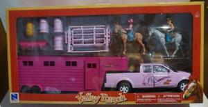 NEW RAY VALLEY RANCH PINK PICK UP TRUCK & TRAILOR NIB