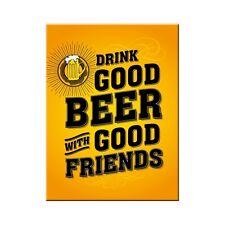 Drink Good Beer With Friends Retro Bar Pub Man Cave Novelty Fridge Magnet