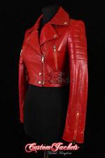 Manteaux et vestes motards rouges en cuir pour femme
