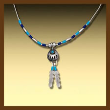 wonderful chain with turquoise lapis color,bear paw and 92.5 silver feathers