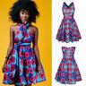 Summer Women Boho Multi-way Traditional African Print Dashiki Skirt Party Dress