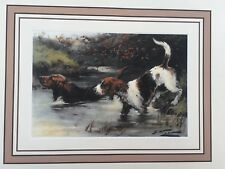 Vintage Hunting Dog Print Tri Color White Otter Hound Black Tan George Wright
