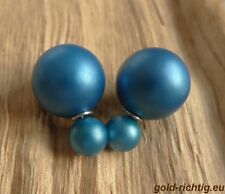 Doppelperlen Ohrstecker blau-grün matt Ohrringe Perlenohrstecker Doppel Perlen