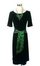 LEONA EDMISTON Dress - Black Green Leaf Print Belt Boat Vintage Stretch - Sz1/8